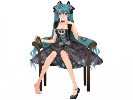 Plain Simple - pretty, dress, hd, hatsune miku, beautiful, sweet, nice, twin tail, green, anime, beauty, anime girl, vocaloids, long hair, vocaloid, female, lovely, twintail, ribbon, gown, miku, black, lolita, plain, hatsune, girl, simple, miku hatsune, lady, green hair, white, maiden
