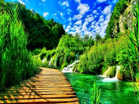 Enchanting Nature - stunning nature, clouds, beautiful places, splendor, paradise, bridge, mountains, wild, path, nature, water streams, forest waterfall, blue sky, forest nature