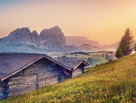 wooden cabins on an alpine meadow in morning hdr