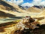 buddhist monastery atop a himalayan hill