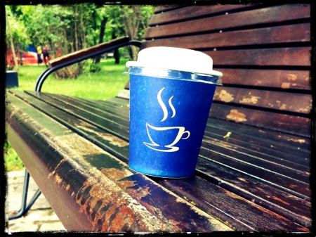 Cop of coffee - paper cup, coffe cup, cup of coffee, cup coffee, romania, bench, hot coffee, bucharest, europe, coffee, bucuresti, wood bench