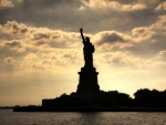 magnificent silhouette of statue of liberty