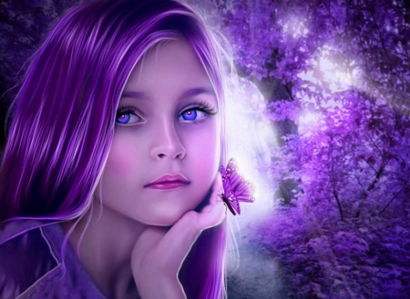 Beauty in Purple for Dreamer Girl (Luiza) - world, butterfly, purple, girl, beauty