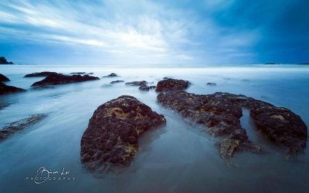 Morrison bay - rocks, ocean, HD, abstract, sky, clouds, wave, photography, water, se, stone, wallpaper, reflection, scene, landscape