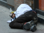 Homeless man on the streets of Toronto Ontario Canada