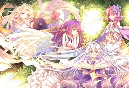 Colors Game - pretty, dress, hd, cg, beautiful, magic, sweet, nice, fantasy, group, anime, beauty, anime girl, long hair, team, female, lovely, angel, no game no life, girl, magical, awesome, silver hair, pink hair, shiro, jibril