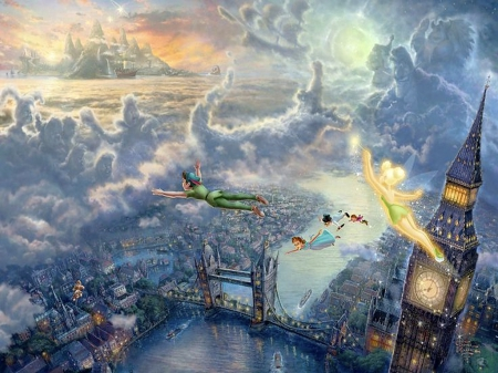 Peter Pan - movie, beautiful, magic, clouds, fantasy, splendor, bridge, river, fairy, disney, cloud, lovely, colors, peter, themse, church, weather, london, pan, figures