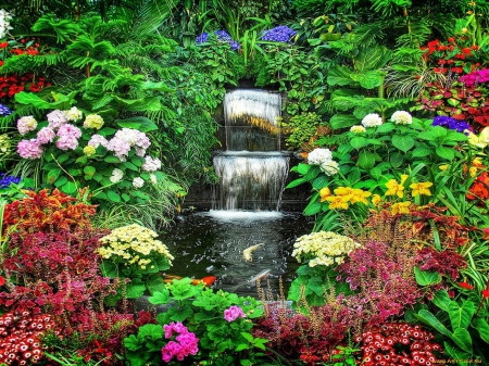 A PEACEFUL PLACE - OUTDOORS, WATERSCAPES, WATERFALL, FLOWERS, GARDENS