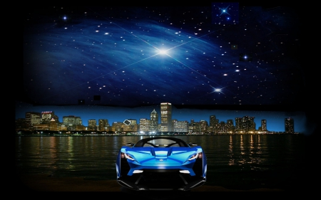 Watching the Stars - cars, stars, scenic, lycan, chicago, skyline