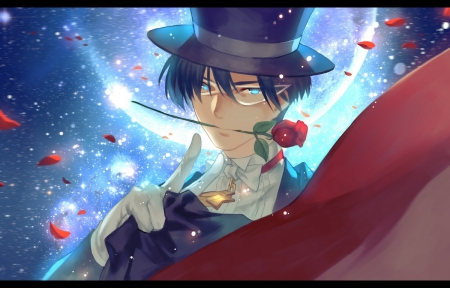 Tuxedo Kamen - cg, sparks, magic, floral, red rose, anime, cape, handsome, sailor moon, beauty, short hair, cool, tuxedo, awesome, mamoru, mamoru chiba, red, hd, glow, rose, guy, darren, beautiful, mantle, moon, blossom, prince endymion, blue eyes, light, black hair, sailormoon, gorgeous, male, glowing, hat, boy, flower, magical, petals, mask