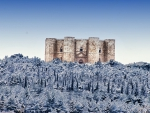 wonderful castel de monte in italy in winter