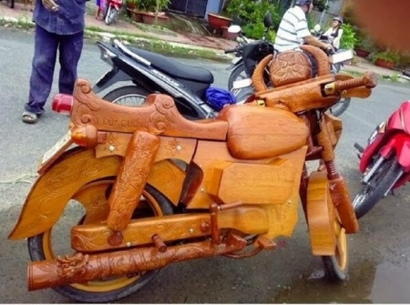 WOODEN BIKE - WOODEN, ODD, CARVED, BIKE