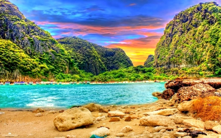 BEAUTIFUL PARADISE - rock, clouds, thailand, sea, beach, beautiful sunset, splendor, forest, enchanting nature, places, seashore, paradise, mountains, beautiful beach, plants, island, nature, blue sky