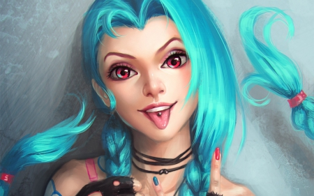 Jinx - art, game, woman, tongue, league of legends, fantasy, girl, amethyst eyes, blue
