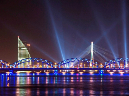 City lights - Riga, city, bridge, urban, water front, Latvia, Batic States, reflection, City lights, white, blue, night