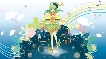 Music Makes The World Go Round - vocaloid, planets, green eyes, town, gumi, music notes, rainbow, clouds, gloves, anime, flowers, green hair