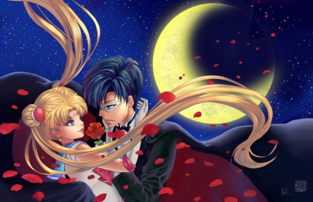 Promise of the Rose ♡ - pretty, sweet, floral, red rose, nice, love, anime, cape, handsome, sailor moon, beauty, anime girl, long hair, tuxedo mask, lovely, romance, twintail, blonde, anime couple, happy, short hair, hug, serenity, lover, awesome, mamoru, crescent, mamoru chiba, blond, divine, rose, guy, darren, beautiful, mantle, twin tail, moon, magical girl, blossom, tsukino usagi, black hair, couple, sailormoon, gorgeous, usagi, female, male, romantic, tuxedo kamen, blonde hair, twintails, usagi tsukino, twin tails, blond hair, boy, tsukino, girl, flower, petals, mask, princess