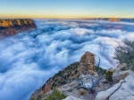 fabulous morning fog in the grand canyon hdr