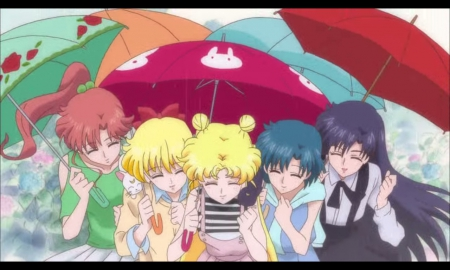Friend 4ever - minako, pretty, friend, umbrella, sweet, nice, tsukino usagi, group, rei, anime, friendship, sailor moon, anime girl, long hair, team, sailormoon, usagi, female, lovely, smile, smiling, happy, short hair, tsukino, girl