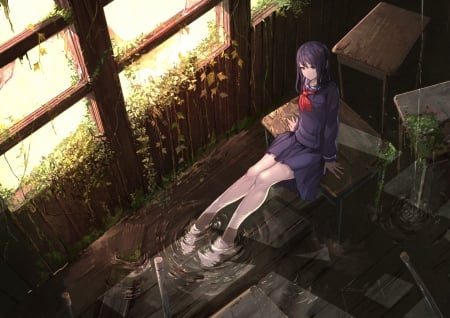 Alone In Abandoned Classroom Other Anime Background Wallpapers