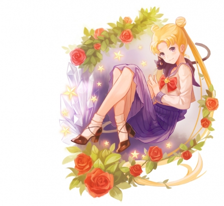 Usagi Chan - pretty, sweet, floral, red rose, serena, nice, anime, sailor moon, beauty, anime girl, long hair, lovely, twintail, kitty, loral, blonde, cat, serenity, white, blond, rose, beautiful, hite, twin tail, blossom, tsukino usagi, sailormoon, usagi, female, luna, blonde hair, twintails, usagi tsukino, plain, twin tails, blond hair, girl, flower, simple, princess, kitten