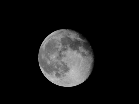 B&W Moon - Pretty, Space, Moon, Planet
