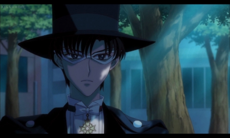 Tuxedo Kamen - cg, sparks, magic, anime, cape, handsome, sailor moon, beauty, short hair, cool, tuxedo, awesome, mamoru, mamoru chiba, hd, guy, darren, beautiful, mantle, blossom, prince endymion, blue eyes, light, black hair, sailormoon, gorgeous, night, male, glowing, hat, boy, magical, mask, scene