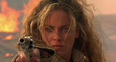 Cowgirl Sharon Stone - female, fun, nra, weapons, guns, classy, Sharon Stone, tough, pistols, cowgirls, famous, blondes, actors, style