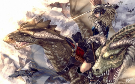 Dragons riders - art, game, man, woman, dragon, armor, fantasy, battle, girl, rider
