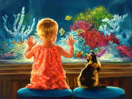 Better than TV - corals, pretty, beautiful, kid, nice, wathers, painting, aqua, child, animals, art, fishes, lovely, TV, kitty, fun, joy, cat, water, kitten, childhood