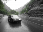 Saturn S-series in a Rainy Canyon - B&W