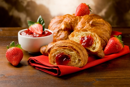 ♥Breakfast♥ - jem, strawberry, fresh, breakfast, croissant
