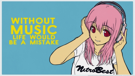 Without Music Life Would Be A Mistake - sonico, female, mistake, life, music, headphone, vector