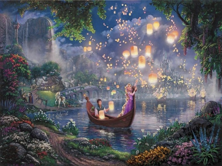 Fantasia land - pretty, colorful, beautiful, lights, fantasy, boat, love, color, fairy, animals, night, amazing, fairyland, lamp, lovely, horse, water, girl, flower, peaceful
