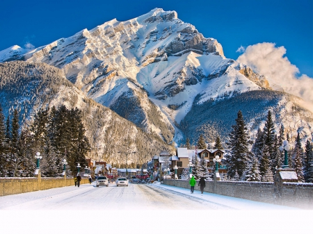 Main St. of Banff, Alberta Looking towards Cascade Mtn. - Mountains, Canada, Nature, Winter
