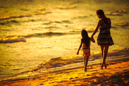 Summer Walk - summer time, ocean, mom, sunset, waves, ocean waves, woman, ea, beach, girl, love, summer, nature, child, evening