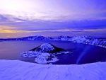 blue dawn on crater lake in winter