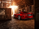 dodge viper srt gts in a barn