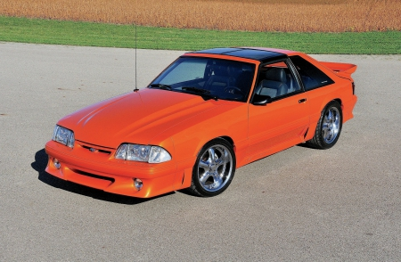1988-Ford-Mustang-Gt - Chrome Wheels, Ford, Orange, 1988