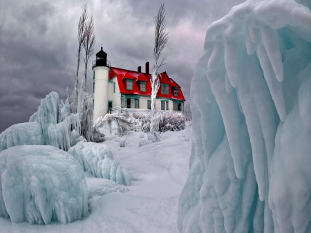 marvelous lighthouse on a frozen hill - red, ice, overcast, hill, lighthouse, winter