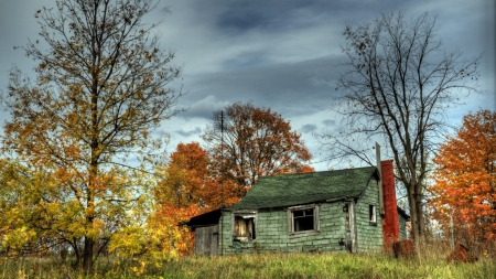 abandoned cabin in a autumn forest hdr - forest, autumn, hdr, cabin, overcast, abandoned
