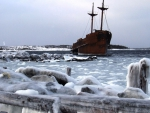 ship wreck on an icy shore