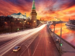spectacular sunset view of the kremlin in moscow hdr