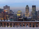 wintry view of montreal from a terrace