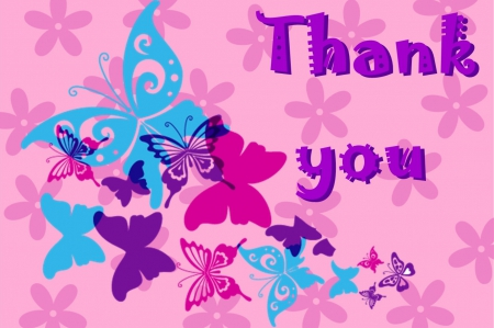 ♥~Thank you~♥ - butterflies, thank you, butterfly, pink