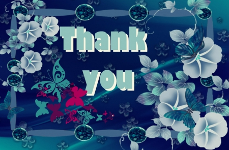 ♥~Thank you~♥ - flowers, butterflies, thank you, blue