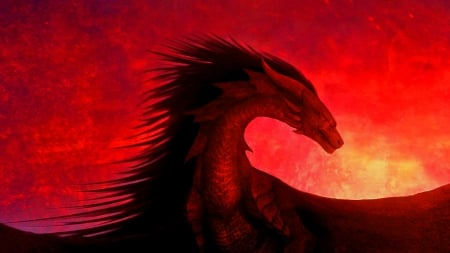 Red Dragon - fantasy, magic, dragon, dark