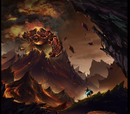 Rise Of A Titan - fire, fantasy, rock monster, hero, volcano