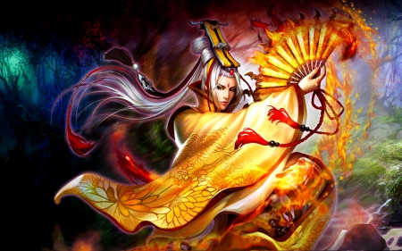 Fire Warrior - Stunning, Fans, Wonderful, Fantasy, Gorgeous, Fire, Male, Oriental, Man, Asian