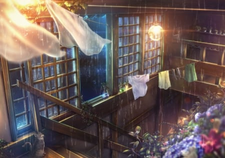House Rain Other Anime Background Wallpapers On